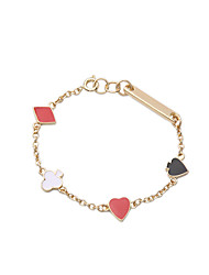 Bohemian Rhinestone Chain Bracelets Golden Heart Poker Bracelet Fashionable Geometric Alloy Jewellery