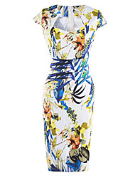 Women's Casual/Daily / Party / Club Vintage Bodycon Dress,Floral Square Neck Knee-length