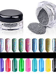 2g/Box Colorful Laser Nail Glitter Powder Shinning Mirror Eye Shadow Makeup Powder Dust Nail Art DIY