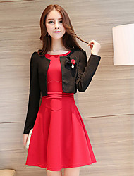 Women's Casual/Daily Simple Sheath Dress,Solid Round Neck Above Knee Long Sleeve Red Polyester Spring