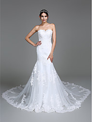 Lanting Bride Trumpet / Mermaid Wedding Dress Chapel Train Sweetheart Tulle with Appliques / Beading