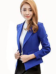 Women's Casual/Daily / Work Simple All Match Fashion Hin Thin Fall Blazer,Solid Peaked Lapel Long Sleeve