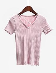 Normal Pullover Femme Décontracté / Quotidien simple,Couleur Pleine Rose / Blanc / Noir Col en V Manches Courtes Coton Eté Fin