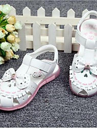 Girl's Sandals Spring Summer Leather Outdoor Casual Flat Heel Bowknot Pink White Others