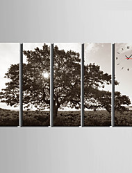 E-HOME® The Trees Clock in Canvas 5pcs