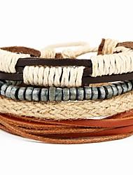 Bracelet Bracelets en cuir Alliage / Cuir Forme Ronde Style Punk Quotidien / Décontracté Bijoux Cadeau Brun,1pc