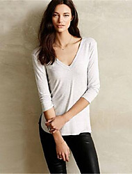 Women's Going out / Casual/Daily Cute / Street chic Fall Shirt,Solid V Neck Long Sleeve Red / White
