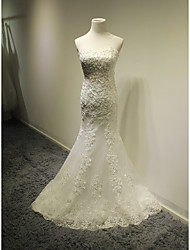 Trumpet / Mermaid Wedding Dress Court Train Sweetheart Tulle with Appliques / Beading