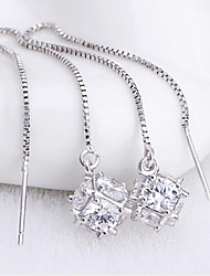 S925 silver sugar cube fringe Earrings