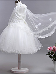 Ball Gown Knee-length Flower Girl Dress - Cotton / Organza / Satin Short Sleeve Jewel with Lace