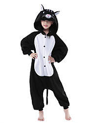 Kigurumi Pajamas New Cosplay® Cat Leotard/Onesie Festival/Holiday Animal Sleepwear Halloween Black/White Solid Polar Fleece Kigurumi For