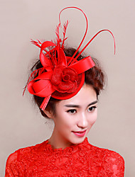 Women's Feather / Net Headpiece-Wedding / Special Occasion Fascinators 1 Piece Wedding Hats