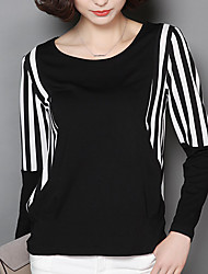 Women's Fine Stripe Casual/Daily Simple Fall Blouse,Striped Round Neck Long Sleeve Black Polyester Medium