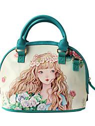 Flower Princess® Women PU / Canvas Tote Green-1504SXD001