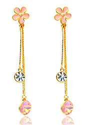 Drop Earrings Crystal Gold Plated Fashion Bohemian Flower Pink Jewelry Daily Casual 1 pair