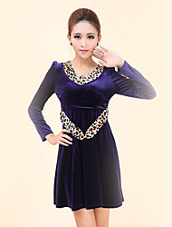 Women's Casual/Daily Simple Sheath Dress,Leopard Round Neck Above Knee Long Sleeve Blue / Red / Black Polyester Spring