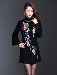 Boutique S Women's Plus Size Chinoiserie Coat,Solid / Embroidered Round Neck Long Sleeve Spring Black