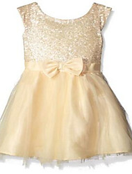 Ball Gown Knee-length Flower Girl Dress - Tulle / Sequined Sleeveless Scoop with Bow(s) / Lace / Sequins