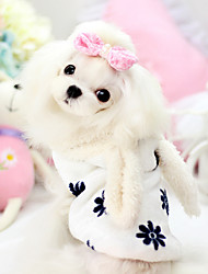 Dog Hoodie White / Pink Winter / Spring/Fall Cartoon Cosplay / Keep Warm, Dog Clothes / Dog Clothing