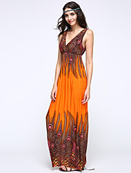 Damen Kleid-Swing Strand Druck Maxi Baumwolle Tiefes V
