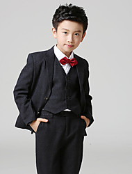 Uniform Cloth Ring Bearer Suit - 4 Pieces Includes  Jacket / Vest / Pants / Bow Tie / Long Tie