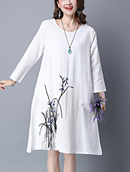 Women's Casual/Daily Simple Loose Dress,Print Knee-length Long Sleeve White / Green Cotton / Linen Spring / Fall