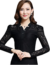 Fall / Winter Women's Going Out Street Chic Blouse,Solid V Neck Long Sleeve Black Blouse