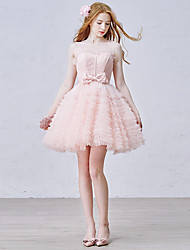 Cocktail Party Dress - Lace-up Ball Gown Jewel Short / Mini Tulle with Appliques Bow(s) Lace Ruffles