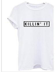 Tee-shirt Aux femmes,Lettre Décontracté / Quotidien simple Eté Manches Courtes Col Arrondi Blanc / Noir Coton Moyen