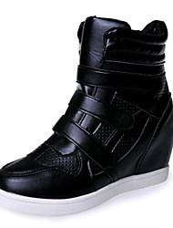 Damen-Sneaker-Lässig-Kunstleder-Keilabsatz-Wedges-Schwarz / Weiß