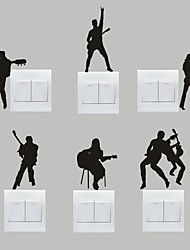 AYA™ Set of 6 DIY Creative Guitar Band Switch Stickers Wall Decor