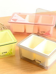 Simple Clamshell Multi-compartment Plastic  Rmovable Seasoning Box Set With Spoon (Two Grid)