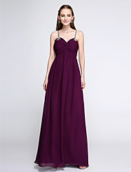 2017 Lanting Bride® Floor-length Chiffon Elegant Bridesmaid Dress - Sheath / Column Spaghetti Straps with Beading / Criss Cross