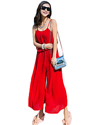 Women's Solid Red Jumpsuits,Boho Strap Sleeveless