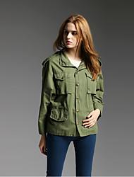 manquer française sortir / jour / vacances simples vestes d'hiver sophistiqués, manches longues milieu de coton vert stand solide
