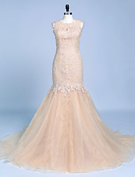 Formal Evening Dress - See Through Trumpet / Mermaid Jewel Court Train Lace Organza with Appliques Beading Buttons Lace