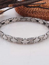 Men's/Women's Circle Silver Stainless Steel Chain Bracelets 1PC