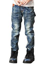 Boy's Cotton Spring/Autumn Fashion Solid Color Patchwork Zipper Denim Jeans