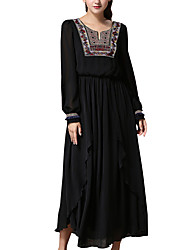 Spring/Fall Formal/Party/Cocktail/Vintage Dresses Round Neck Long Sleeve Muslim Embroidery Swing Dress