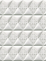 JAMMORY Art DecoWallpaper For Home Wall Covering Canvas Adhesive required Mural White Imitation Tile3XL(14'7''*9'2'')