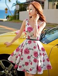 Damen Hülle / Swing / Skater Kleid-Ausgehen / Strand / Urlaub Retro / Boho / Anspruchsvoll Blumen V-Ausschnitt Übers Knie Ärmellos Rosa