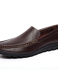 Черный / Коричневый-Мужской-На каждый день / Для вечеринки / ужина-Кожа-На плоской подошве-Удобная обувь / С круглым носком-Туфли на