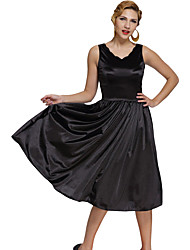 Women's Black Scallop Neck Cinched Waist Ladylike Vintage Dress