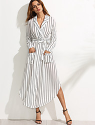 Women's Casual/Daily Vintage Sheath Chiffon Dress,Striped Shirt Collar Maxi Long Sleeve White / Black Others Fall