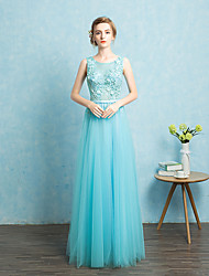 Floor-length Tulle Beautiful Back Bridesmaid Dress - A-line Jewel with Sash / Ribbon
