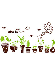 Wall Stickers Wall Decals Style Fresh Green Pot PVC Wall Stickers