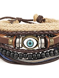 4pcs/set Punk Men's Bracelet PU Leather Bracelet Evil Eye Multicolor Beads Multilayer for Men Fashion Jewelry