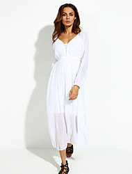 Women's Beach Loose Dress,Solid V Neck Midi Long Sleeve White Polyester Summer