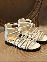 Girl's Sandals Summer Sandals PU Outdoor Flat Heel Rivet / Buckle Black / White Others