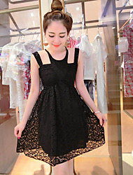 Women's Casual/Daily Simple Lace Dress,Solid Halter Above Knee Sleeveless White / Black / Yellow Polyester Summer